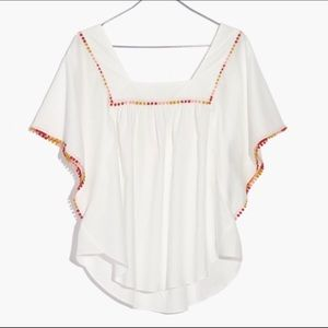 Madewell pompom butterfly top NWT